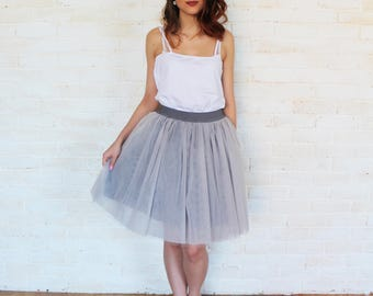 Gray tulle skirt, tulle skirt, tutu skirt, bridesmaid dress, bridesmaid skirt