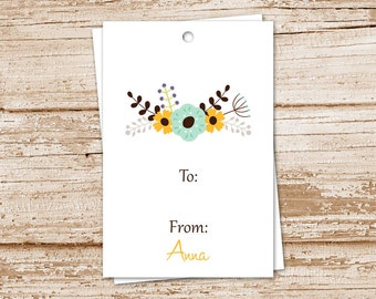 floral gift tags . botanical flower hang tags . PRINTABLE birthday gift tags . personalized tags . to from tags . digital YOU PRINT