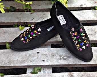80's LEATHER JEWELED FLat slide funky PUNK flat shoes