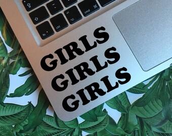 GIRLS GIRLS GIRLS Decal Sticker / Feminist Decal Sticker, Laptop Decal