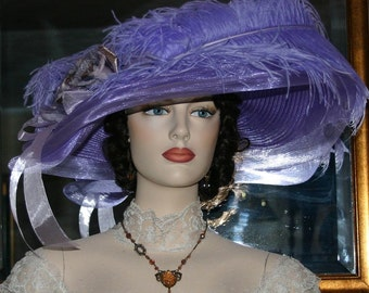 Kentucky Derby Hat Ascot Edwardian Tea Hat Titanic Hat Somewhere in Time Hat Downton Abbey Hat Women's Lavender - Lady Ophelia