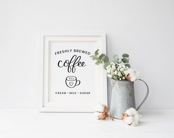 Coffee Printable, Freshly Brewed Coffee Sign Printable, Coffee quote print, Calligraphy print, Kitchen Decor, Art Print Instant Download