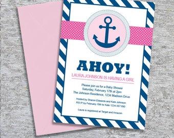 Anchor Nautical Baby Shower Invitation – DIY Printable Personalised – Baby Girl (Digital File)