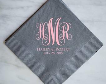 Personalized Monogram Script Wedding Napkins, Custom Beverage Napkins, Wedding Reception Napkins, Cake Table Napkins, Monogram Napkins