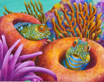 "Carolyn Steele painting tropical art print, coral reef, Caribbean coral reef, two comical blennies in sea sponges : ""Seaweed Blennies"""