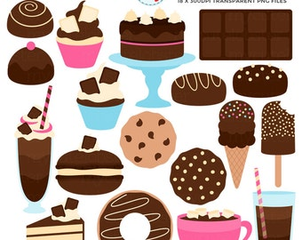 Chocolate Treats Clipart Set - cake, candy, ice cream, chocolate, milkshake, sweets - personal use, small commercial use, instant download