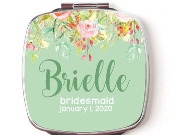 Personalized Compact Mirror, Makeup Mirror, Mirror for Bridal Party Favors, Double Sided Mirror,  Bridesmaid Mirror, floral mirror