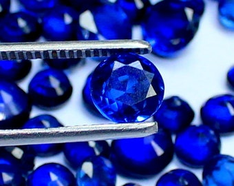 5 mm 6 mm 7 mm Natural Round Shape Faceted Cut Transparent Blue Sapphire Loose Gemstone Jewelry Use New Year