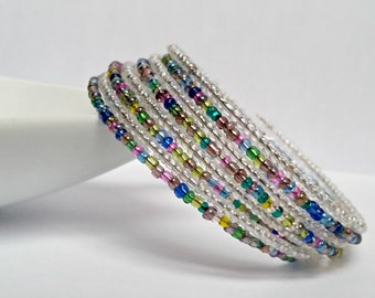 Multi colored seed beads Memory wire bracelet.
