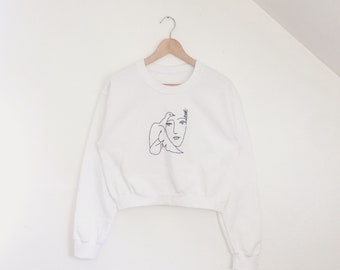 Hand embroidered Picasso Dove of peace cropped white sweatshirt / Only one available! | Size small