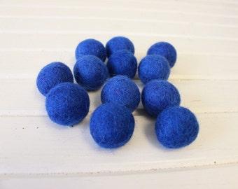 Blue Felt Balls 12 count