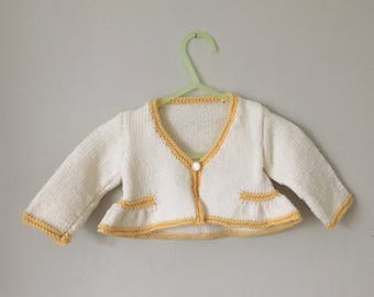 Contrast Edge Jacket for 3-6 mth old and 1-2 year old Hand Knit in Yorkshire in Merino Wool