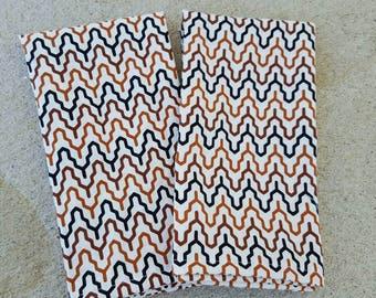 dinner cloth napkins- black and tan fretwork