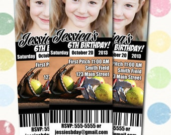 Softball Birthday Party Invitation Ticket Style You Print Digital File
