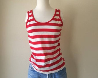 Vintage striped sheer tank top red and white made in USA