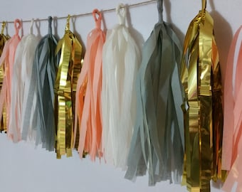 SHIPPED NEXT DAY, 20 Tassel Peach and Gray Tissue Paper Garland, Wedding Decoration, Baby Shower, Birthday Party, Streamers, Fringe Garland