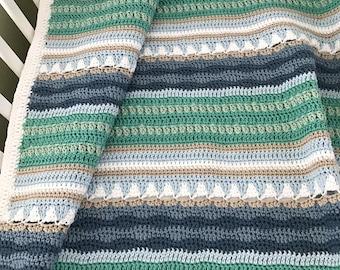Crochet Baby Blanket Pattern - Sailboats Baby Blanket Pattern - EASY CROCHET pattern - Crochet Blanket - Crochet Patterns by Deborah O'Leary