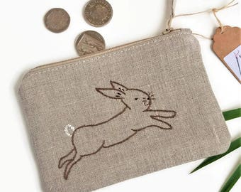 Rabbit Lover Gift | Bunny Coin Purse, Nature Lover Gift, Animal Coin Purse, Handmade Bunny Gift, Eco Friendly, Coin Purse, Zip Pouch