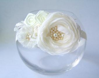 Flower girl ivory headband Girl accessories Christening headband Headband Bridal headband