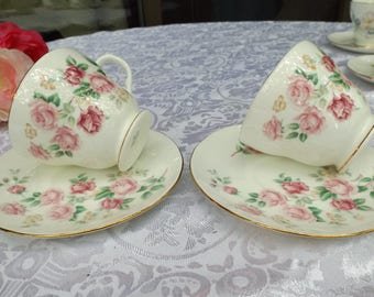 Delightful English DUCHESS Roses bone china tea or coffee set service 2 cups 2 matching saucers .New old stock. Home decor Gift idea