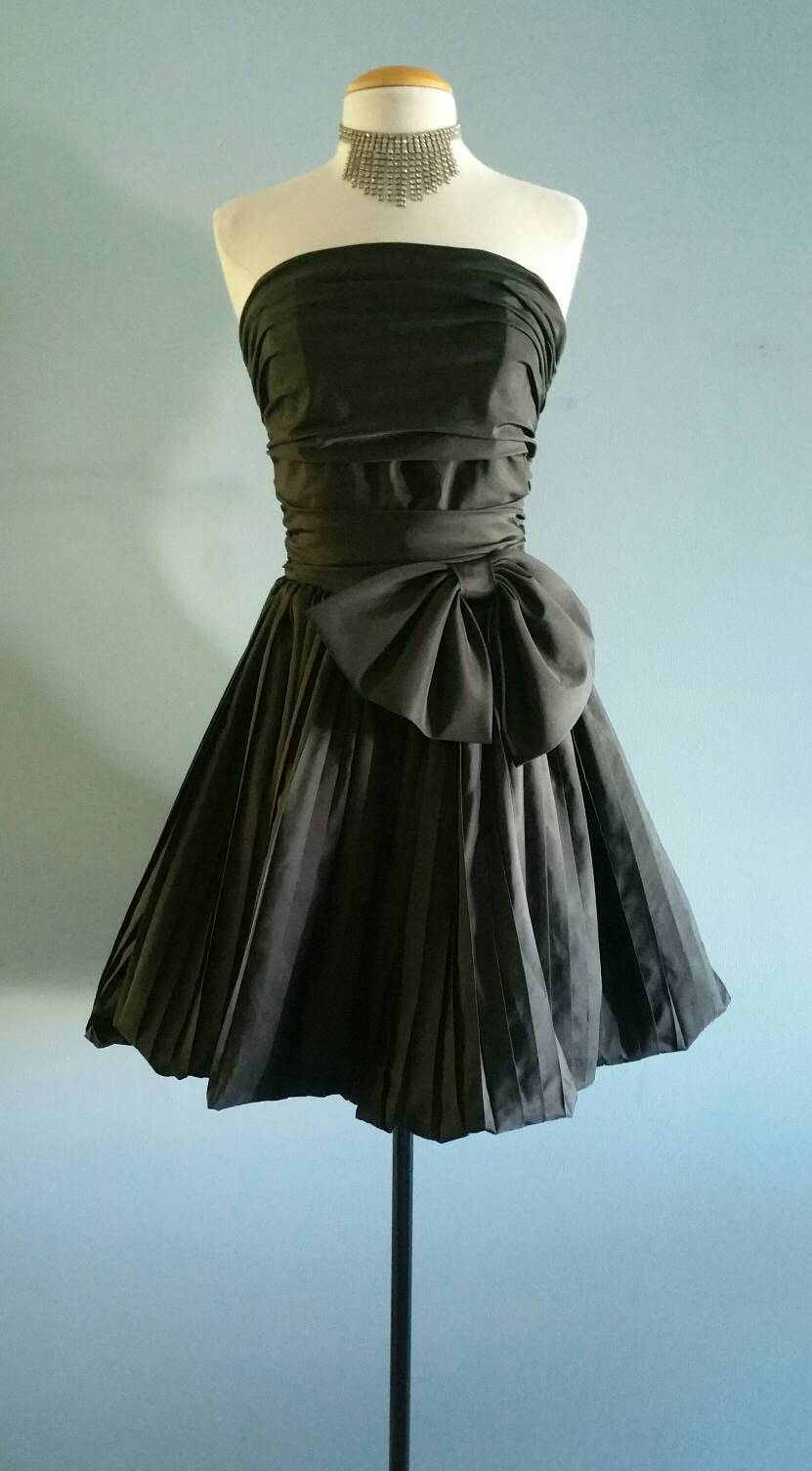 1980s formal little black bubble dress
