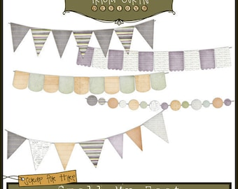 Banner Day - Smell My Feet Paper Piecing Clipart Elements for Invitations, Card Design, Digital Scrapbooking - Instant Download