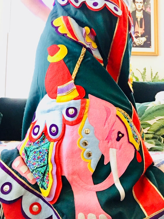 Vintage Wool Floor Length High Waist Handmade Skirt With Elephant Decals SHIPS FREE