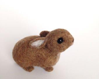 Needle felted rabbit - cotton tail - felted rabbit - Needle felted animal - Felted animal - brown  bunny - Soft sculpture - xmas gift