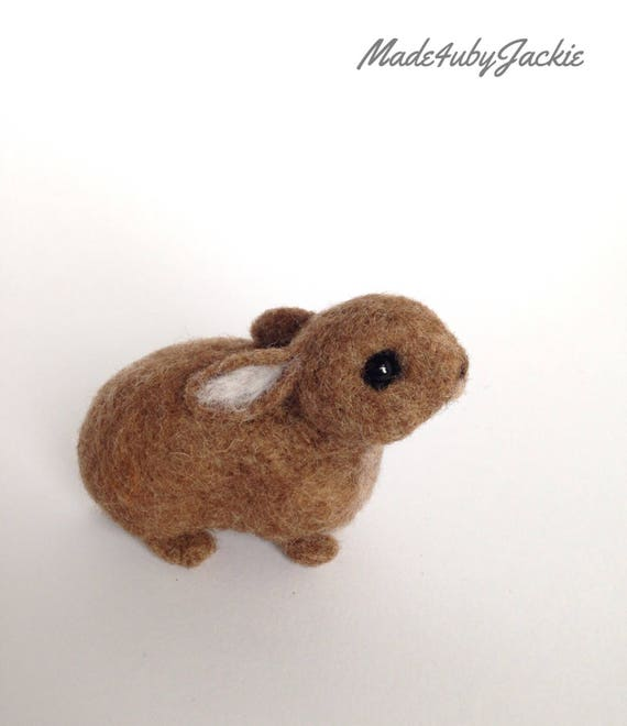 Needle felted rabbit - cotton tail - felted rabbit - Needle felted animal - Felted animal - brown  bunny - Soft sculpture - xmas gift
