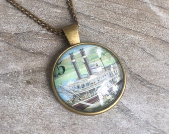 Steamboat Authentic Vintage Stamp Glass Cabochon Necklace