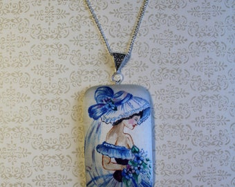 Hand painted silk pendant with a bride. Hand painted pendant. Bride's gift. Unusual jewelry. Ready to ship.