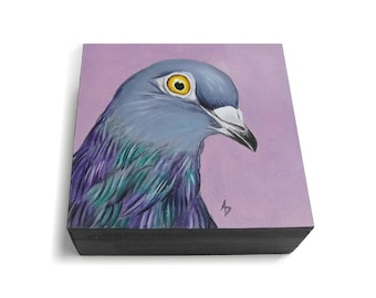 Purple Pigeon painting - rock dove of peace - columba livia pop art - pigeon art - urban bird art - colorful city street pigeon artwork