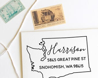 Washington state return address stamp, state, self inking stamp or rubber stamp wood handle