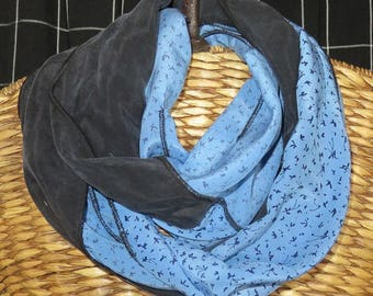 Scarf, one only 'One of a Kind', Blue, Black. Mobius Infinity,