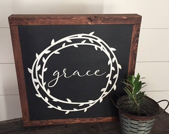 Grace with wreath wood sign