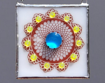 Mandala Fused Glass Suncatcher Light Catcher Flower Floral