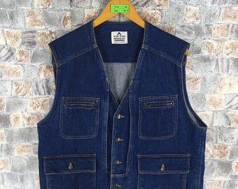 Vintage 80s SAFARI ROOKIE Vest Jacket Denim Sleeveless Men Large Cargo Jacket 1980s Four Pocket Jeans Jacket Size L