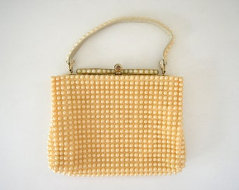 1950s Pearl Handbag Mid Century Vintage Cream Formal Purse Handheld Bag With Gold Frame by Grandee Beads Made in USA