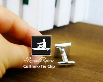 rowing cufflinks, boating cufflinks, rowing race cufflinks, sports gifts, custom wedding cufflinks, round, square cufflinks, tie clips, set