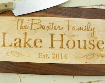 Lake House Cutting Board Wood Cutting Board, Cheese Board, Chopping Board, Cutting Board, Cutting Boards