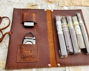 THE SPURGEON     ~     leather pipe cigar case pouch roll holder