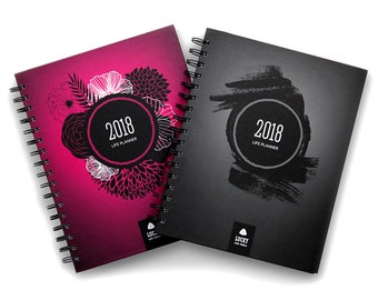 """Life Planner 2018: Goal Planner + Weekly / monthly / yearly Agenda Calendar Planner Journal (7.75"""" x 9.25""""), Pink or Black"""