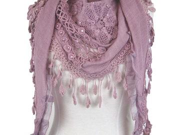 Triangle special occasion scarf shawl wrap diamantes & decorative trim - pink - CFOC0849
