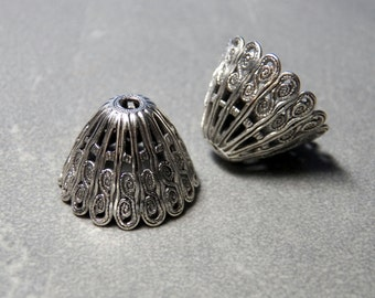 Large Silver Plated Domed Bead Caps 14x20mm (2)