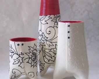 ceramic embossed vase  :) white & RED kitchen decor