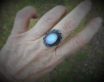 Moonstone ring, oxidized silver ring, blue moonstone ring, moonstone rings, 925 silver, size 7 1/2 ring, gypsy ring, boho ring, hippie ring