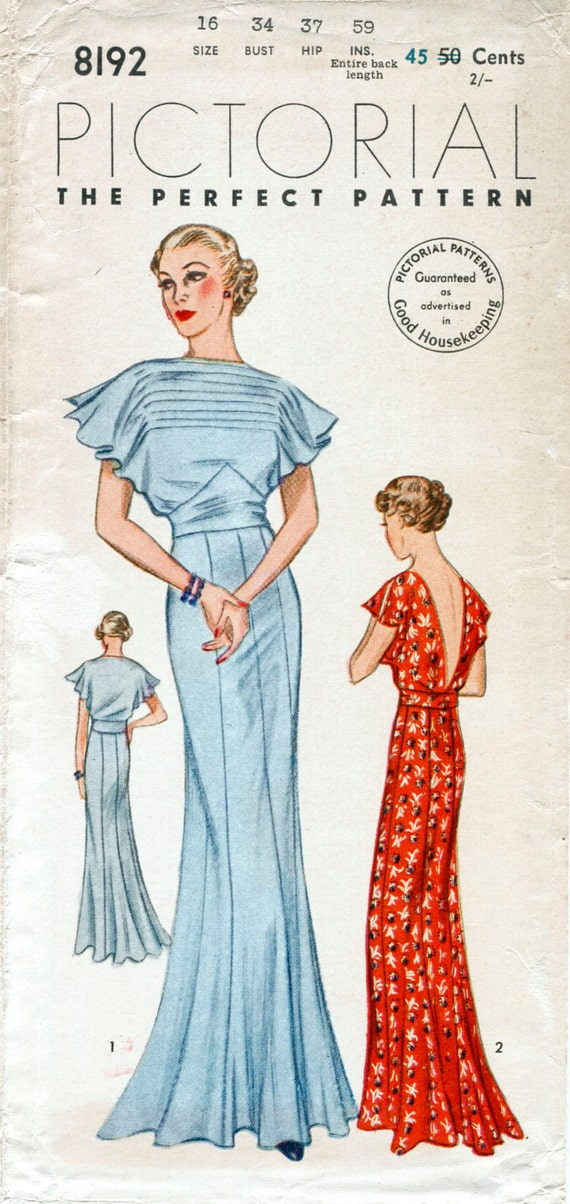 30s 1930s vintage gown sewing pattern wedding bridal evening