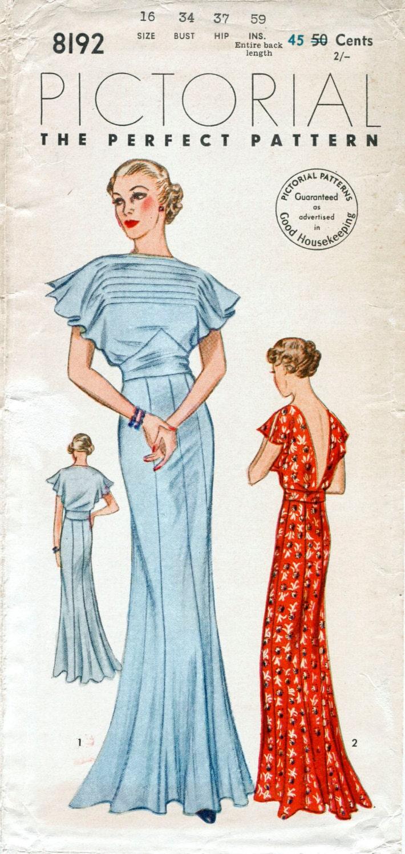 30 años patrón de costura vintage Vestido de década de 1930
