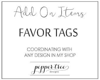 Coordinating Favor Tags - Printable Bridal Shower Thank You Favor Tags to match any design in my shop - Printable