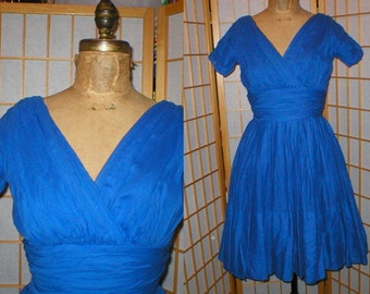 Vintage 50s royal blue ruched cotton dress by Miss Elliette womens size small / medium